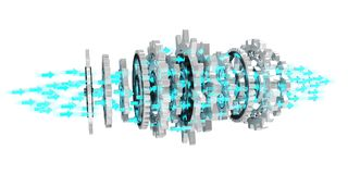 Sväva den moderna tolkningen för kugghjulmekanism 3D Arkivfoto