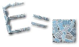 Sväva E=mc2 uttrycker molnet Royaltyfri Fotografi