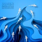 Sväva hajar, pappers- stil Kroppvåg, med skuggor Marin- liv djurliv, rovdjur gick att jaga vektor illustrationer