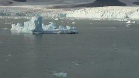 Sväva isberg på spegelyttersida av havhavet stock video
