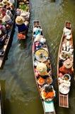 Sväva marknaden, Thailand Arkivbilder