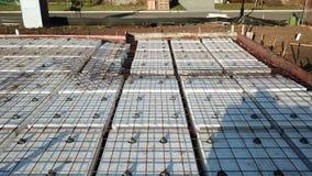 Sväva platsen för konstruktion för förberedelse för konkret tjock skiva för förstärkt betong den australiska lager videofilmer