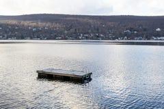 Sväva simningflotten i grönskande skog sjön (NY) Royaltyfri Bild