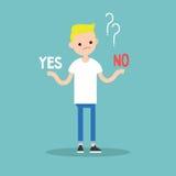 Svårt beslut: Ja eller inte objekt för pengar för illustration för euro för brown för blå ask för bakgrund begreppsmässigt Barn b royaltyfri illustrationer