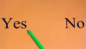 svårt val inget frågeformulär ja Ord på en orange bakgrund Motivation framgång Den gröna pilen väljer ja royaltyfria bilder