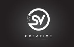 Free SV Circular Letter Logo With Circle Brush Design And Black Background. Stock Photos - 93995103