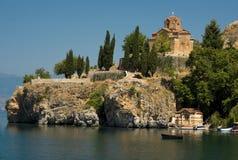 SV. Jovan, igreja Ohrid de Kaneo, Macedónia imagens de stock royalty free
