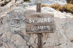 Sv Jure sign. Sv. Jure peak sign in Biokovo mountains, Croatia Stock Photo