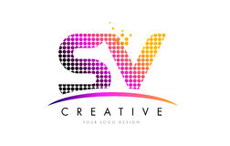 SV S V Letter Logo Design with Magenta Dots and Swoosh. SV S V Dots Letter Logo Design with Magenta Bubble Circles and Swoosh stock illustration