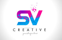 Free SV S V Letter Logo With Shattered Broken Blue Pink Texture Design Vector. Royalty Free Stock Photography - 91807897