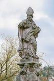Sv. Vojtech, St. Adalbert Patron of Czech lands. Statue on the Charles Bridge in Prague Royalty Free Stock Photo