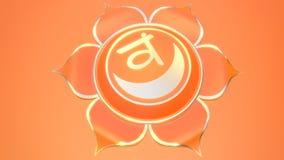 Svadhistana chakra symbol used in Hinduism, Buddhism, Ayurveda. 3d illustration muladhara. Balance and energy royalty free illustration
