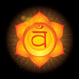 Svadhisthana. Glowing chakra icon . The concept of chakras used in Hinduism, Buddhism and Ayurveda. For design, as Royalty Free Stock Image