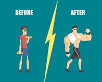 Svaga och muskulösa män, man före och efter som utbildar, demonstration av framsteg i utbildning stock illustrationer