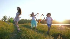 Svago della famiglia in natura, bambini attivi felici con i nastri e mulini del giocattolo mantenere sull'erba verde al sole stock footage