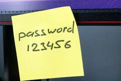 Svagt lösenordbegrepp Lösenord 123456 på en pinne Arkivfoto