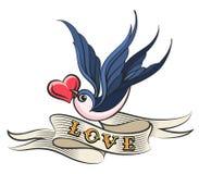Svala med hjärta- och bandtatueringen stock illustrationer