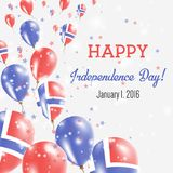 Svalbard And Jan Mayen Independence Day Greeting. Svalbard And Jan Mayen Independence Day Greeting Card. Flying Balloons in Svalbard And Jan Mayen National Royalty Free Stock Photos