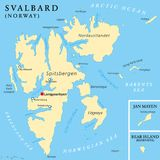 Svalbard Political Map. With capital Longyearbyen, a Norwegian archipelago in the Arctic Ocean, formerly known by its Dutch name Spitsbergen. English labeling Stock Image