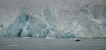 Svalbard Spitzbergen Glacier landscape. Svalbard Spitzbergen Islands Glacier view with small zodiac Stock Photography