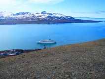 Svalbard. view from Mount Olaf. Norway. A tourist route Stock Photos