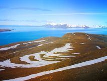 svalbard vista da montagem Olaf noruega Uma rota do turista Imagens de Stock