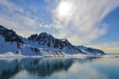 Svalbarden fjords Magdalenafjord fotografia stock