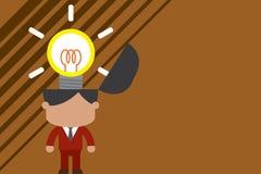 Svalla innovativ ljus inspiration St?ende manlig chefdr?ktslips som svaller briljant id? Mannen st?r den ljusa kulan stock illustrationer