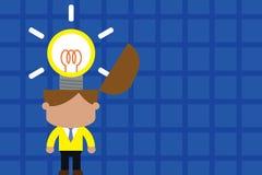 Svalla innovativ ljus inspiration St?ende manlig chefdr?ktslips som svaller briljant id? Mannen st?r den ljusa kulan royaltyfri illustrationer