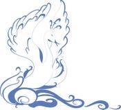 Svan som svävar på vågorna illustration för diagram för fyrverkerier eps10 för bakgrund svart royaltyfri illustrationer