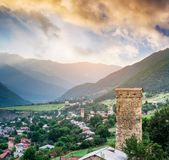 Landscape with Svan tower Royalty Free Stock Photo