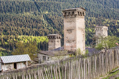 Svan towers in Mestia at sunrise, Svaneti, Georgia. View of the Svanetian towers in Mestia village. Upper Svaneti, Georgia Stock Photo