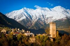 Svan towers in Mestia. Svaneti, Georgia Royalty Free Stock Photo