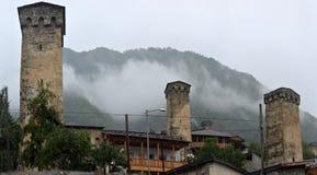Svan towers in Mestia. Svaneti Royalty Free Stock Photo