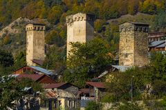 Svan towers in snowy mountains Royalty Free Stock Images