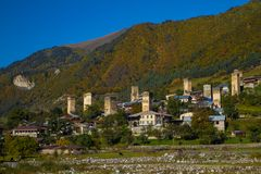 Svan towers in snowy mountains Royalty Free Stock Photos