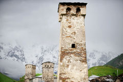Svan towers in Ushguli Stock Images