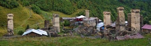 Svan towers in Ushguli. Svaneti, Georgia Stock Images