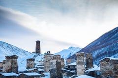 Svan towers in Ushguli. At winter dawn Royalty Free Stock Image