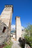 Svan watchtowers i Georgia Arkivfoto