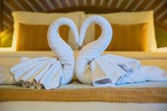 Svanar som göras från handdukar på sängen Royaltyfri Fotografi