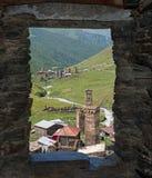 Svaneti från tornfönster Royaltyfri Fotografi