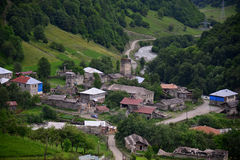 Svaneti, Georgia. Mestia is a highland townlet in northwest Georgia, at an elevation of 1,500 metres in the Caucasus Mountains Royalty Free Stock Images