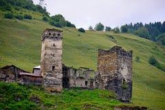 Svaneti, Georgia. Towers in Ushguli, Upper Svaneti, Georgia Royalty Free Stock Photo