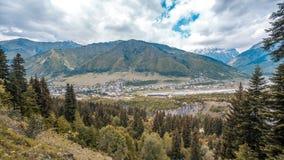 Svaneti mountains, Ushba mountain, panoramic view of the city of Royalty Free Stock Photos