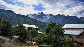 Svaneti Region Georgia. Mestia View Rainy village stock image