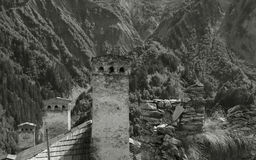Svaneti towers black-and-white image Royalty Free Stock Image