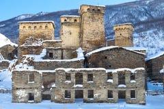 Svaneti towers in Ushguli Stock Photos