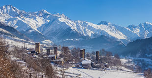 Svaneti village. In the mountains in winter Royalty Free Stock Photography