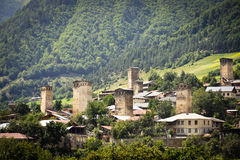 Svanetian towers. In the Georgia Stock Photography